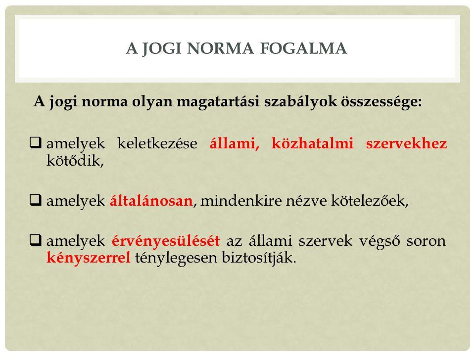 A JOGI NORMA FOGALMA A jogi norma olyan magatartási szabályok összessége:  amelyek keletkezése állami, közhatalmi szervekhez kötődik,  amelyek általánosan, mindenkire nézve kötelezőek,  amelyek érvényesülését az állami szervek végső soron kényszerrel ténylegesen biztosítják.