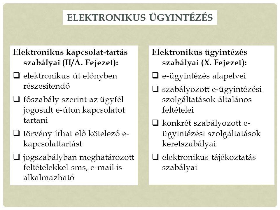 ELEKTRONIKUS ÜGYINTÉZÉS Elektronikus kapcsolat-tartás szabályai (II/A.