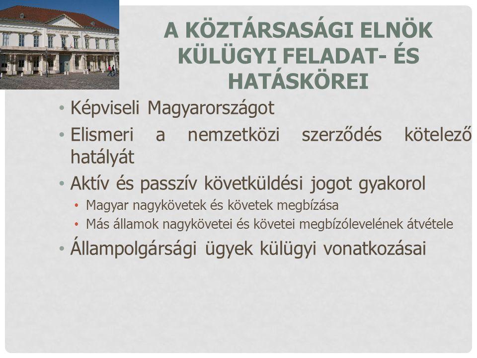 A KÖZTÁRSASÁGI ELNÖK KÜLÜGYI FELADAT- ÉS HATÁSKÖREI Képviseli Magyarországot Elismeri a nemzetközi szerződés kötelező hatályát Aktív és passzív követk
