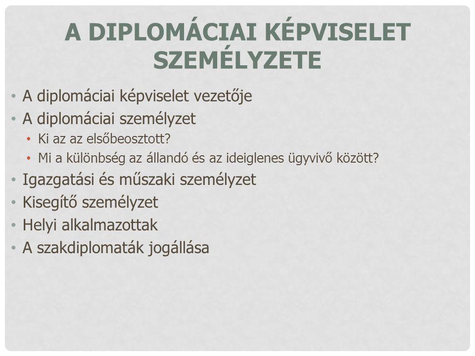 A DIPLOMÁCIAI KÉPVISELET SZEMÉLYZETE A diplomáciai képviselet vezetője A diplomáciai személyzet Ki az az elsőbeosztott? Mi a különbség az állandó és a