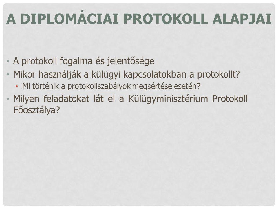 A DIPLOMÁCIAI PROTOKOLL ALAPJAI A protokoll fogalma és jelentősége Mikor használják a külügyi kapcsolatokban a protokollt? Mi történik a protokollszab