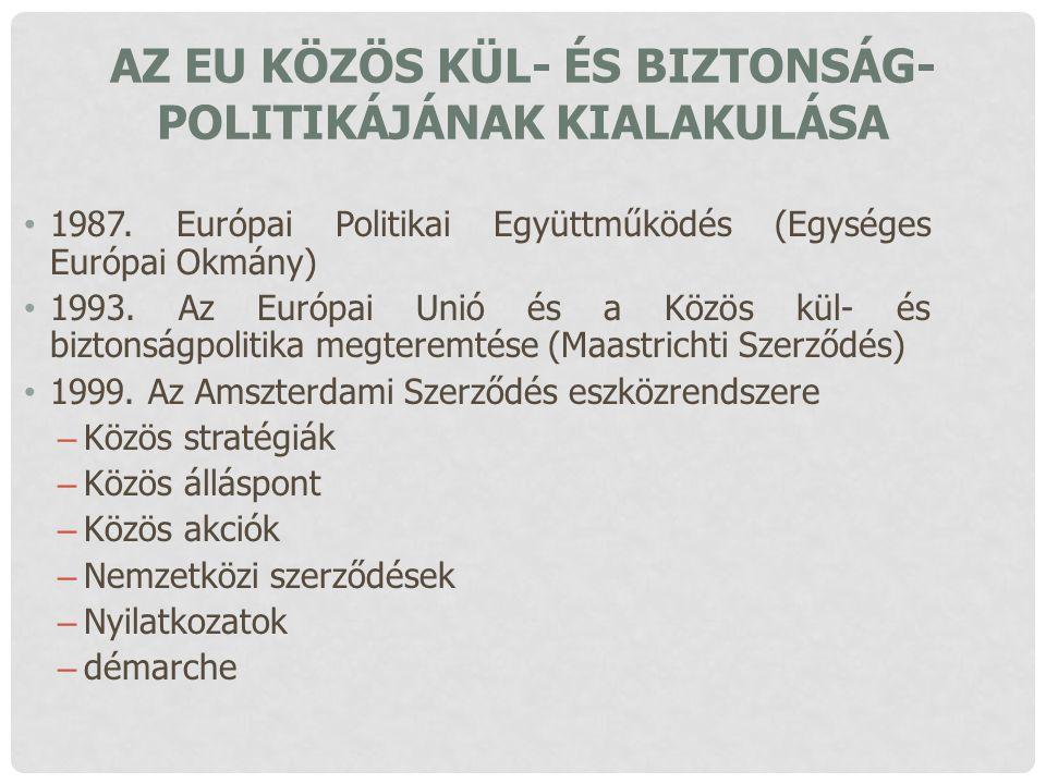 AZ EU KÖZÖS KÜL- ÉS BIZTONSÁG- POLITIKÁJÁNAK KIALAKULÁSA 1987. Európai Politikai Együttműködés (Egységes Európai Okmány) 1993. Az Európai Unió és a Kö