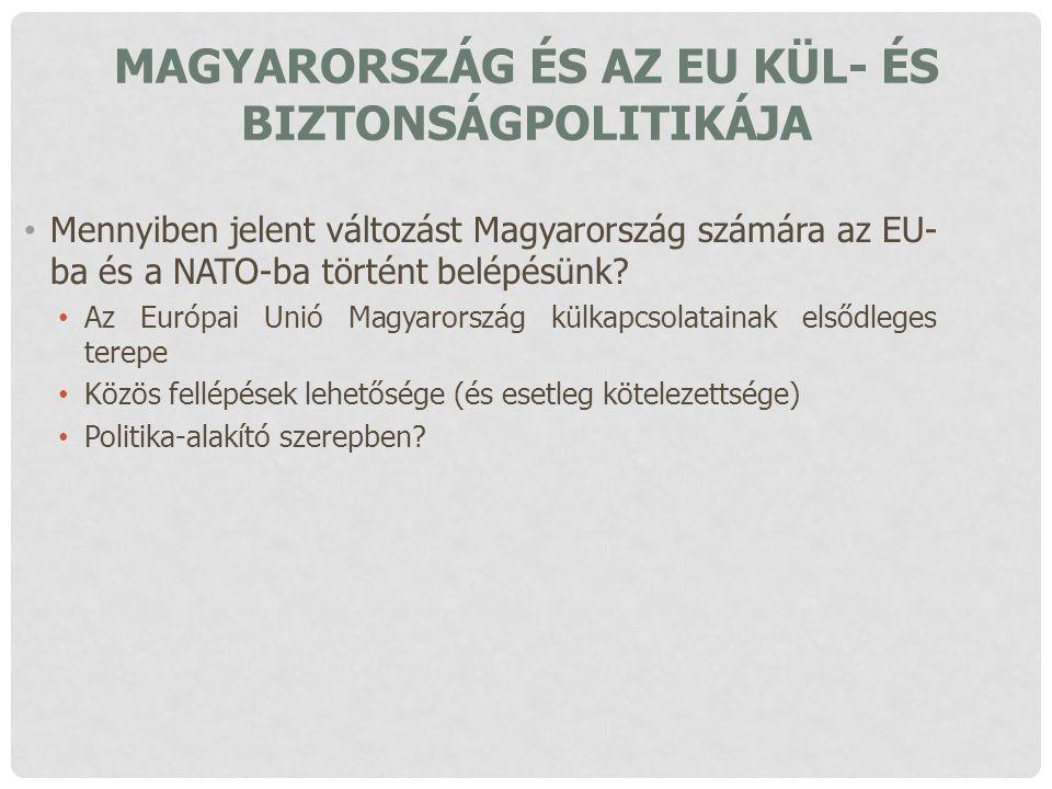 MAGYARORSZÁG ÉS AZ EU KÜL- ÉS BIZTONSÁGPOLITIKÁJA Mennyiben jelent változást Magyarország számára az EU- ba és a NATO-ba történt belépésünk? Az Európa
