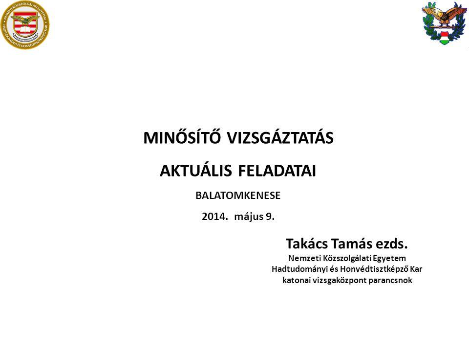 MINŐSÍTŐ VIZSGÁZTATÁS AKTUÁLIS FELADATAI BALATOMKENESE 2014.