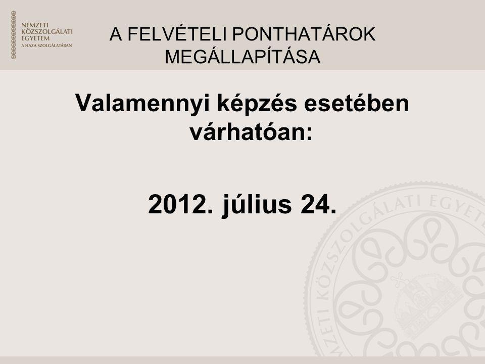 A FELVÉTELI PONTHATÁROK MEGÁLLAPÍTÁSA Valamennyi képzés esetében várhatóan: 2012. július 24.