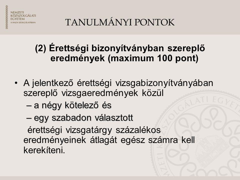 TANULMÁNYI PONTOK (2) Érettségi bizonyítványban szereplő eredmények (maximum 100 pont) A jelentkező érettségi vizsgabizonyítványában szereplő vizsgaer