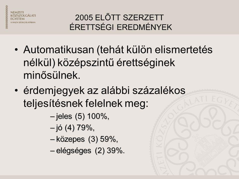2005 ELŐTT SZERZETT ÉRETTSÉGI EREDMÉNYEK Automatikusan (tehát külön elismertetés nélkül) középszintű érettséginek minősülnek. érdemjegyek az alábbi sz