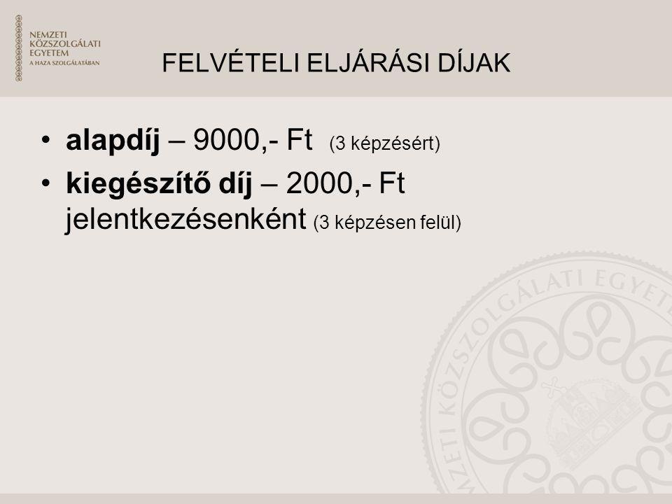 FELVÉTELI ELJÁRÁSI DÍJAK alapdíj – 9000,- Ft (3 képzésért) kiegészítő díj – 2000,- Ft jelentkezésenként (3 képzésen felül)