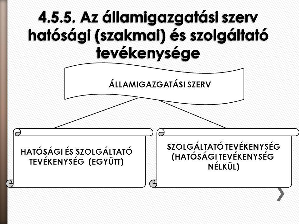 ÁLLAMIGAZGATÁSI SZERV HATÓSÁGI ÉS SZOLGÁLTATÓ TEVÉKENYSÉG (EGYÜTT) SZOLGÁLTATÓ TEVÉKENYSÉG (HATÓSÁGI TEVÉKENYSÉG NÉLKÜL)