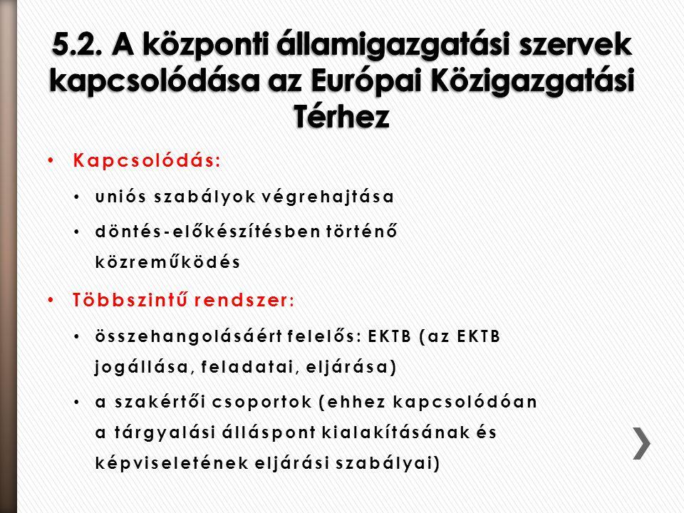 Kapcsolódás: uniós szabályok végrehajtása döntés-előkészítésben történő közreműködés Többszintű rendszer : összehangolásáért felelős: EKTB (az EKTB jo