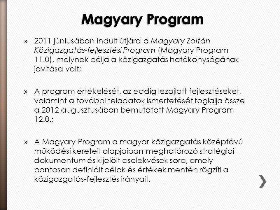 » 2011 júniusában indult útjára a Magyary Zoltán Közigazgatás-fejlesztési Program (Magyary Program 11.0), melynek célja a közigazgatás hatékonyságának