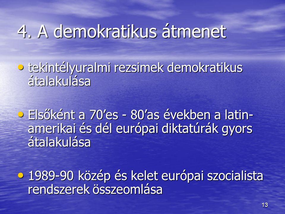 13 4. A demokratikus átmenet tekintélyuralmi rezsimek demokratikus átalakulása tekintélyuralmi rezsimek demokratikus átalakulása Elsőként a 70'es - 80