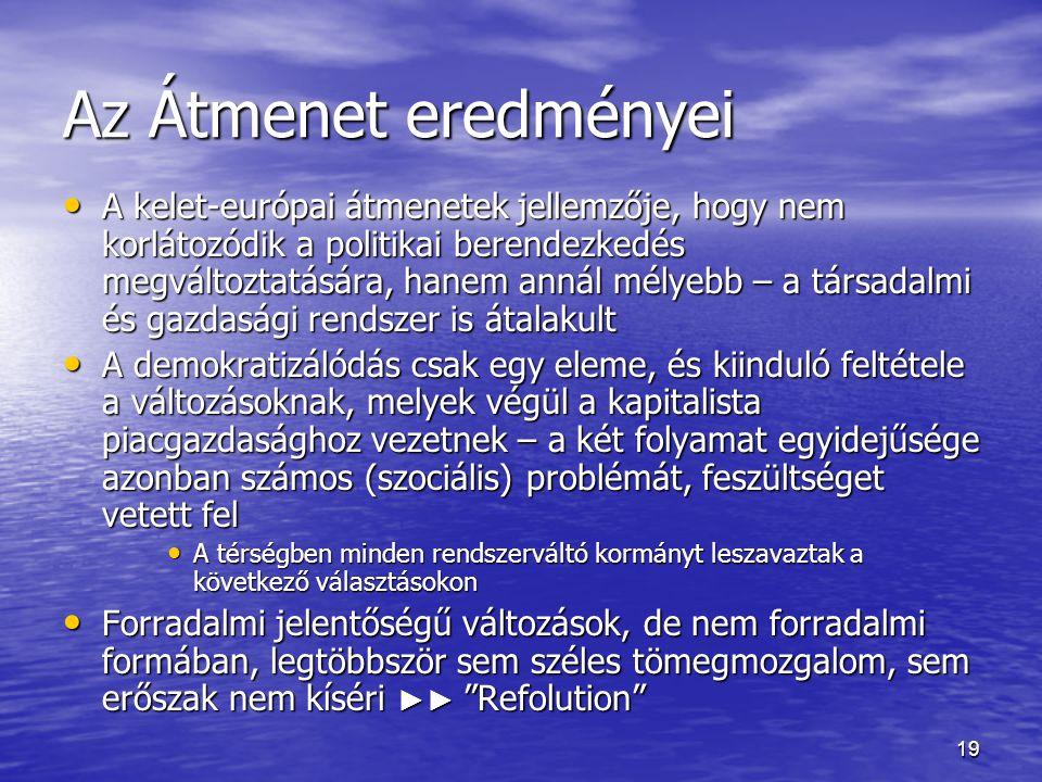 19 Az Átmenet eredményei A kelet-európai átmenetek jellemzője, hogy nem korlátozódik a politikai berendezkedés megváltoztatására, hanem annál mélyebb