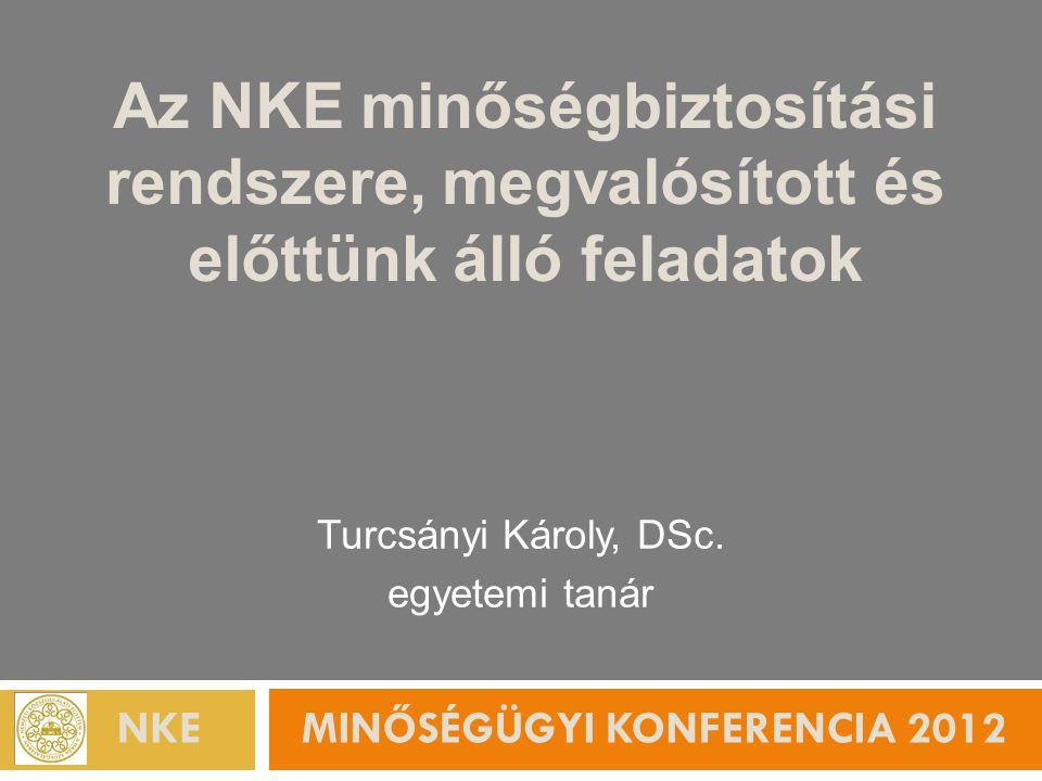 NKE Minőségügyi Konferencia 2012 Az előadás felépítése  Tapasztalataink a minőségfejlesztés terén  Az NKE-n eddig megtett lépések  További fejlesztési elgondolások Egyetemünkön  Minőség a felsőoktatásban ma.