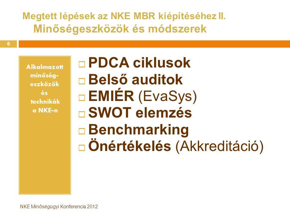NKE Minőségügyi Konferencia 2012 PDCA ciklusok az NKE-n … avagy a minőség folyamatos fejlesztése 7 P1: Minőségbiztosítási rendszer tervezése P2: MFP 2012 P2-2: MFP 2013-2015 (PDCA 2.kör) P3: EMIÉR P4: Belső Audit program P1:MBR továbbfejlesztése P2: Új MFP 2013-2015 P2-2: Új MFP 2011 P3: EMIÉR továbbfejlesztése P4:Belső audit program 2013 P1: Minőségbiztosítási szabályzat bevezetés 2012 január P2: MFP cselekvési program végrehajtás P2-2:MFP cselekvési program végrehajtás P3: EMIÉR felmérések bevezetése, végrehajtás P4:Belső auditok végrehajtása P1:MBR működtetése P2: felülvizsgálat P2-2: felülvizsgálat P3: EMIÉR átvizsgálása P4: Belső audit program ellenőrzés P D C A INTÉZMÉNYI MINŐSÉGBIZTOSÍTÁS MŰKÖDÉSE