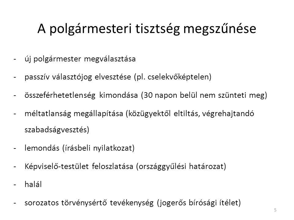 A polgármesteri tisztség megszűnése -új polgármester megválasztása -passzív választójog elvesztése (pl.