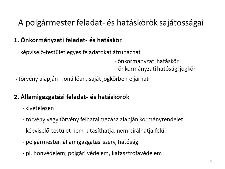 A polgármester feladat- és hatáskörök sajátosságai 1.