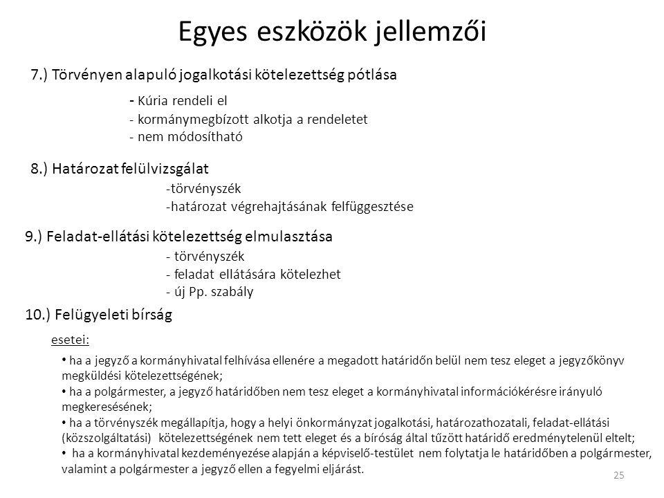 Egyes eszközök jellemzői 7.) Törvényen alapuló jogalkotási kötelezettség pótlása 25 - Kúria rendeli el - kormánymegbízott alkotja a rendeletet - nem m