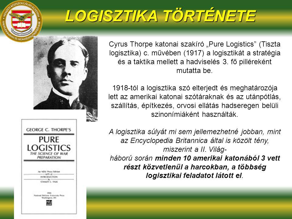 """LOGISZTIKA TÖRTÉNETE Cyrus Thorpe katonai szakíró """"Pure Logistics (Tiszta logisztika) c."""
