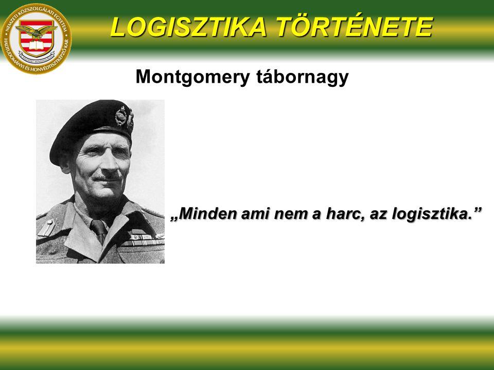 """LOGISZTIKA TÖRTÉNETE Montgomery tábornagy """"Minden ami nem a harc, az logisztika."""