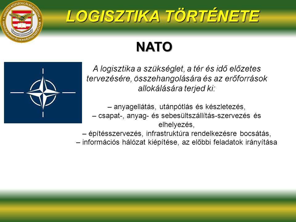 LOGISZTIKA TÖRTÉNETE NATO A logisztika a szükséglet, a tér és idő előzetes tervezésére, összehangolására és az erőforrások allokálására terjed ki: – anyagellátás, utánpótlás és készletezés, – csapat-, anyag- és sebesültszállítás-szervezés és elhelyezés, – építésszervezés, infrastruktúra rendelkezésre bocsátás, – információs hálózat kiépítése, az előbbi feladatok irányítása