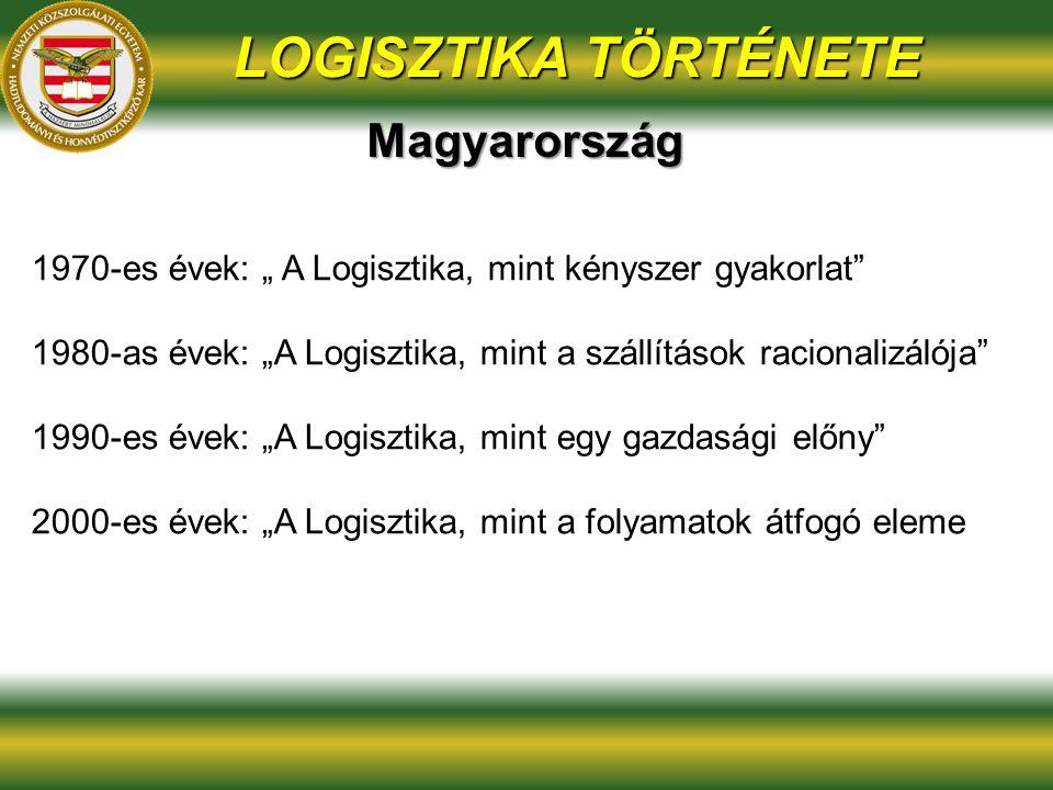 """LOGISZTIKA TÖRTÉNETE 1970-es évek: """" A Logisztika, mint kényszer gyakorlat 1980-as évek: """"A Logisztika, mint a szállítások racionalizálója 1990-es évek: """"A Logisztika, mint egy gazdasági előny 2000-es évek: """"A Logisztika, mint a folyamatok átfogó eleme Magyarország"""