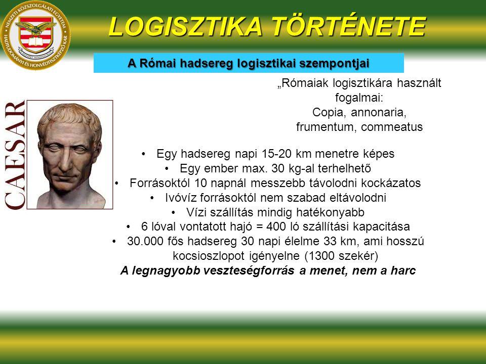 """""""Rómaiak logisztikára használt fogalmai: Copia, annonaria, frumentum, commeatus A Római hadsereg logisztikai szempontjai LOGISZTIKA TÖRTÉNETE Egy hadsereg napi 15-20 km menetre képes Egy ember max."""