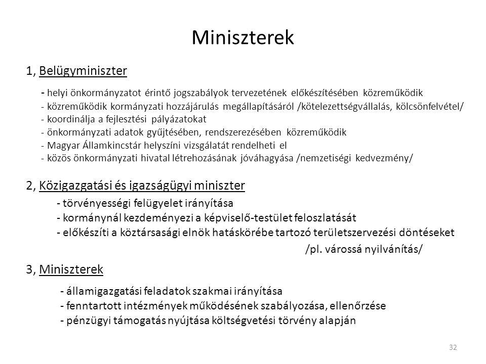 Miniszterek 1, Belügyminiszter - helyi önkormányzatot érintő jogszabályok tervezetének előkészítésében közreműködik - közreműködik kormányzati hozzájá