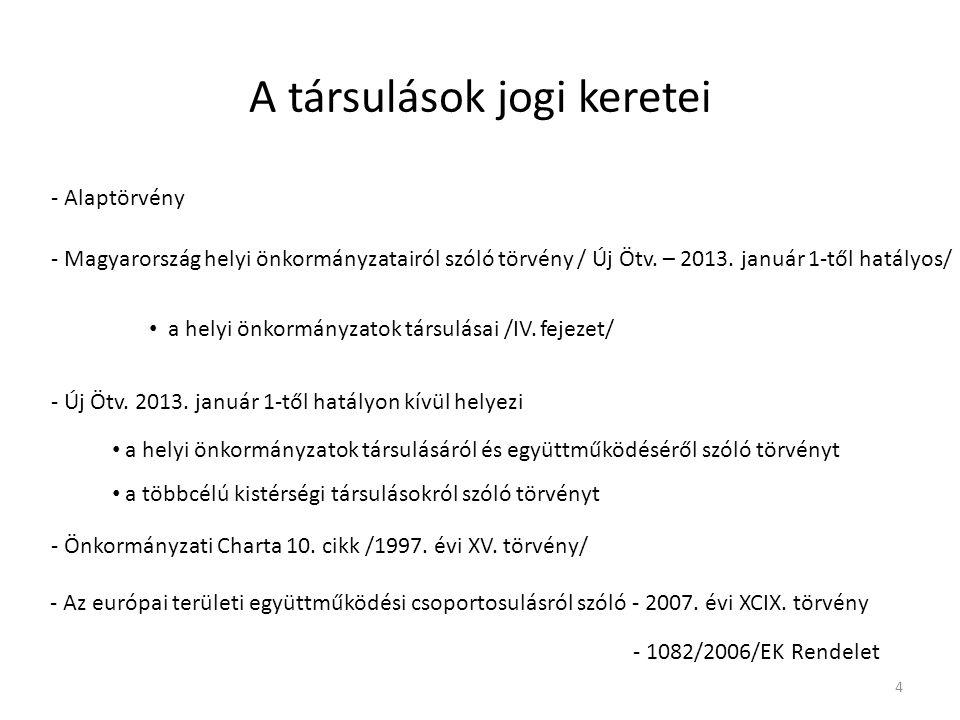 A társulások jogi keretei - Alaptörvény - Magyarország helyi önkormányzatairól szóló törvény / Új Ötv. – 2013. január 1-től hatályos/ a helyi önkormán