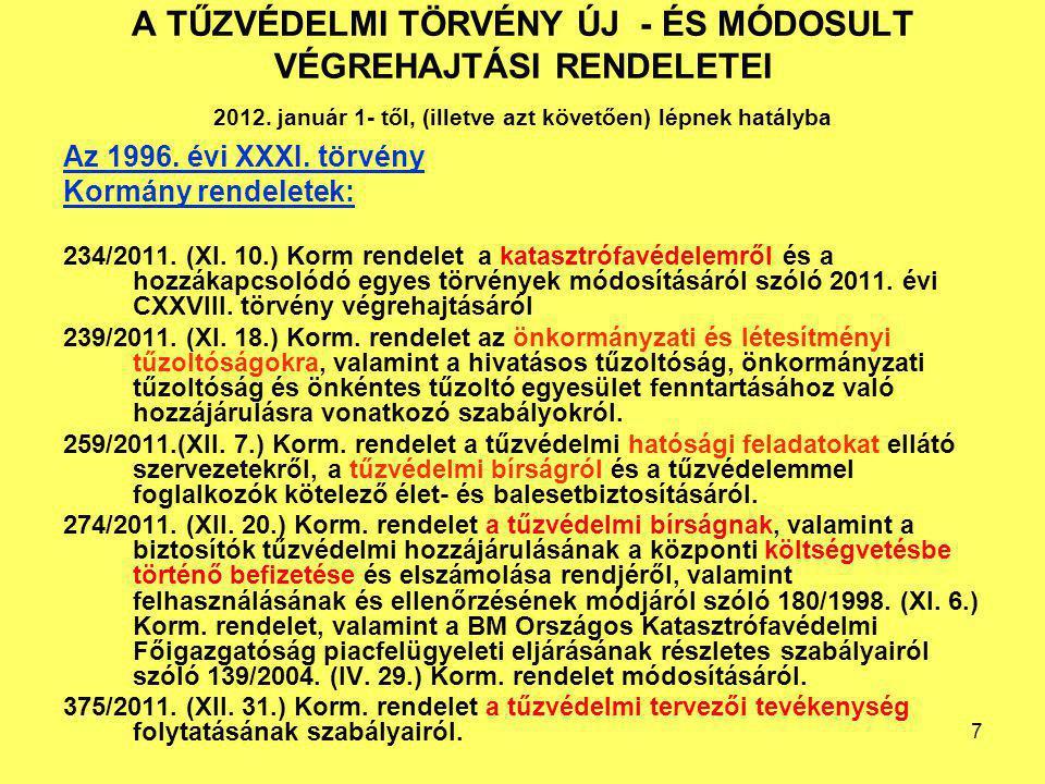 A TŰZVÉDELMI TÖRVÉNY ÚJ - ÉS MÓDOSULT VÉGREHAJTÁSI RENDELETEI 2012. január 1- től, (illetve azt követően) lépnek hatályba Az 1996. évi XXXI. törvény K