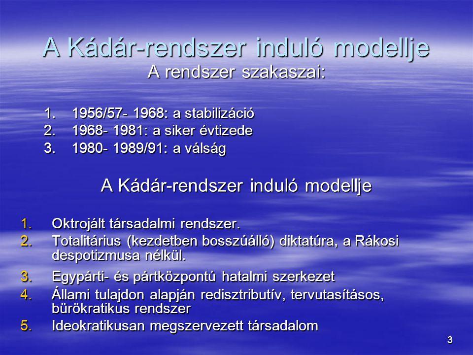 14 Ellenzék megjelenése  Már korábban is volt ellenzék Mo.-n de nem igazán jellemző Pl.: Charta 77 Pl.: Charta 77  A külső ellenzéket megosztja a hagyományos Népi-Urbánus ellentét  Célok, értékek:  Népi: nép-nemzeti irányultság, vallás, (magyar) kisebbségek helyzete, nemzeti sérelmek orvoslása  MDF-mozgalom (!)  MDF-mozgalom (!)  Urbánus: Polgári progresszió hívei, szabadság, demokrácia, polgárosodás, kül.