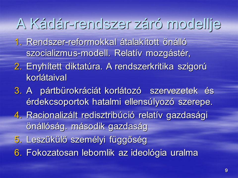 20 Az Ellenzék megjelenése  Vita tárgya, mikortól léteznek ellenzéki csoportok Magyarországon: 68, 77, 80-as évek.