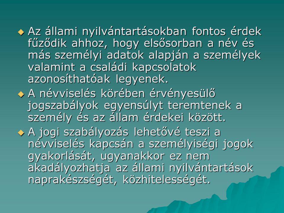 Névmódosítás honosítással A magyar állampolgárságról szóló 1993.