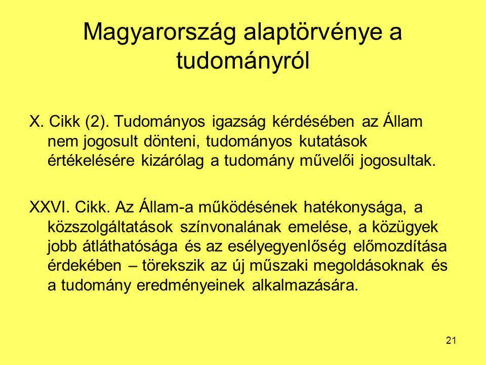 Magyarország alaptörvénye a tudományról X. Cikk (2). Tudományos igazság kérdésében az Állam nem jogosult dönteni, tudományos kutatások értékelésére ki