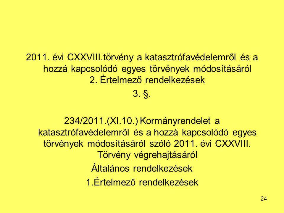 2011. évi CXXVIII.törvény a katasztrófavédelemről és a hozzá kapcsolódó egyes törvények módosításáról 2. Értelmező rendelkezések 3. §. 234/2011.(XI.10