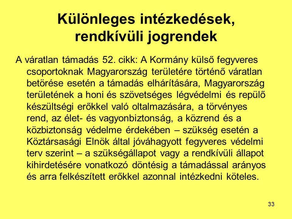 Különleges intézkedések, rendkívüli jogrendek A váratlan támadás 52. cikk: A Kormány külső fegyveres csoportoknak Magyarország területére történő vára