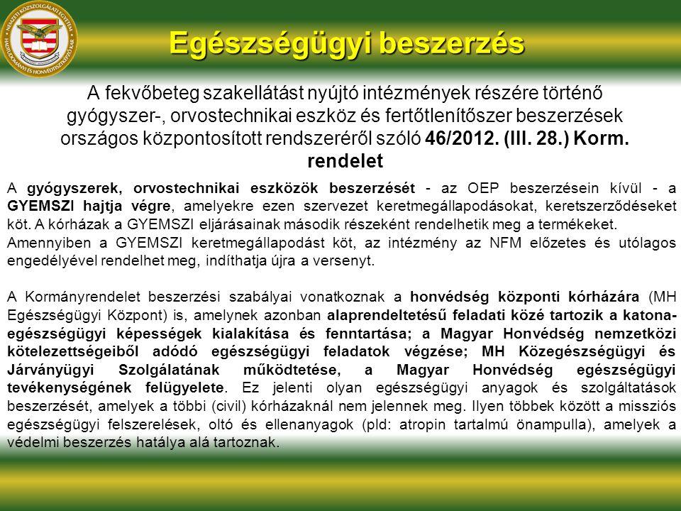 Egészségügyi beszerzés A fekvőbeteg szakellátást nyújtó intézmények részére történő gyógyszer-, orvostechnikai eszköz és fertőtlenítőszer beszerzések országos központosított rendszeréről szóló 46/2012.