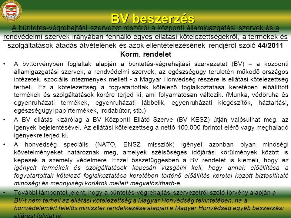 BV beszerzés A büntetés-végrehajtási szervezet részéről a központi államigazgatási szervek és a rendvédelmi szervek irányában fennálló egyes ellátási kötelezettségekről, a termékek és szolgáltatások átadás-átvételének és azok ellentételezésének rendjéről szóló 44/2011 Korm.