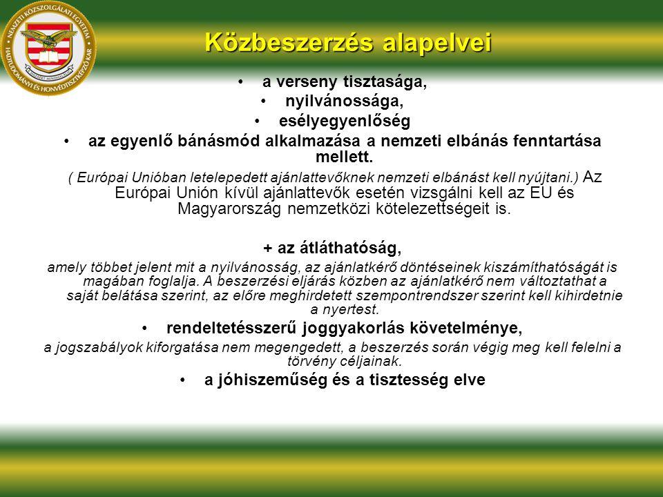 a verseny tisztasága, nyilvánossága, esélyegyenlőség az egyenlő bánásmód alkalmazása a nemzeti elbánás fenntartása mellett. ( Európai Unióban letelepe
