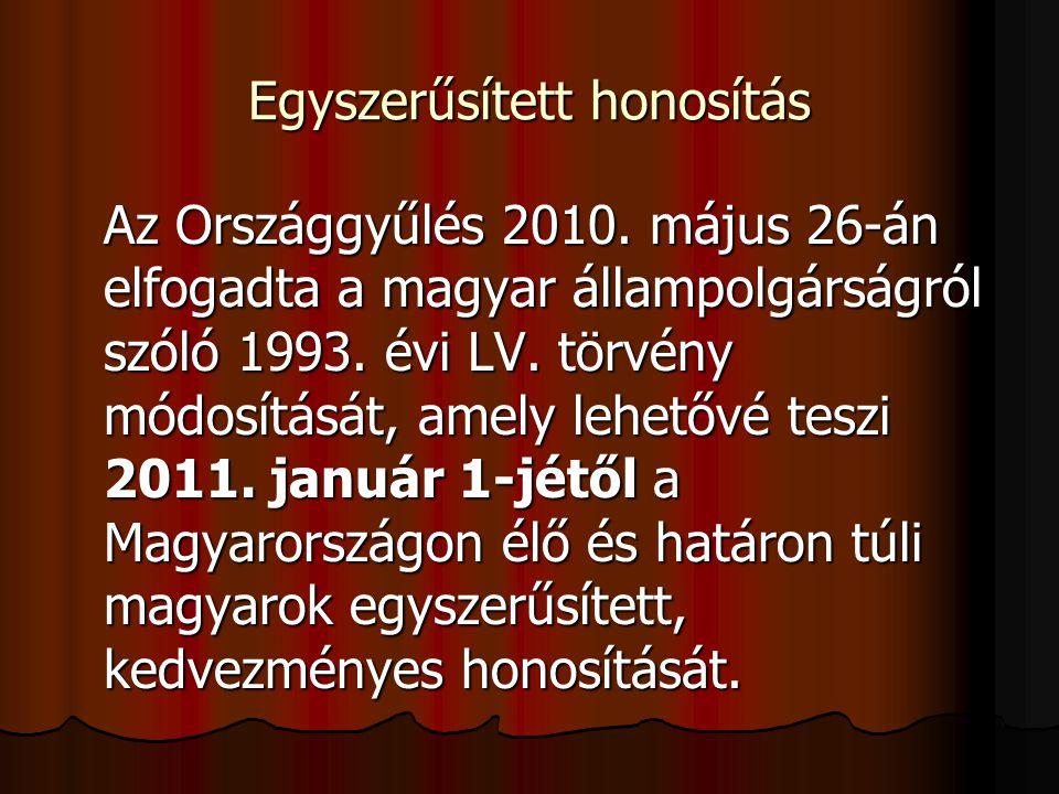 Egyszerűsített honosítás Az Országgyűlés 2010. május 26-án elfogadta a magyar állampolgárságról szóló 1993. évi LV. törvény módosítását, amely lehetőv