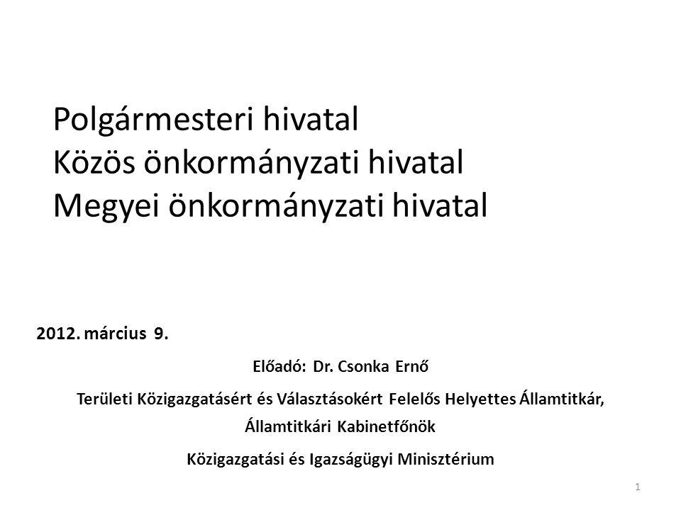 Polgármesteri hivatal Közös önkormányzati hivatal Megyei önkormányzati hivatal 2012. március 9. Előadó: Dr. Csonka Ernő Területi Közigazgatásért és Vá