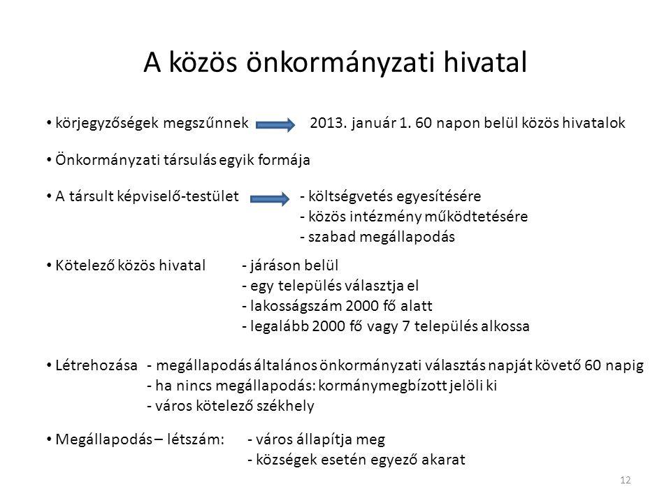 A közös önkormányzati hivatal körjegyzőségek megszűnnek 2013. január 1. 60 napon belül közös hivatalok Önkormányzati társulás egyik formája A társult