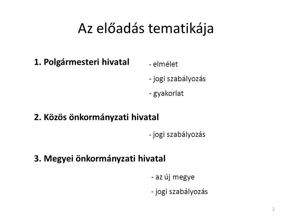 Az előadás tematikája 1.Polgármesteri hivatal - elmélet - jogi szabályozás - gyakorlat 2.