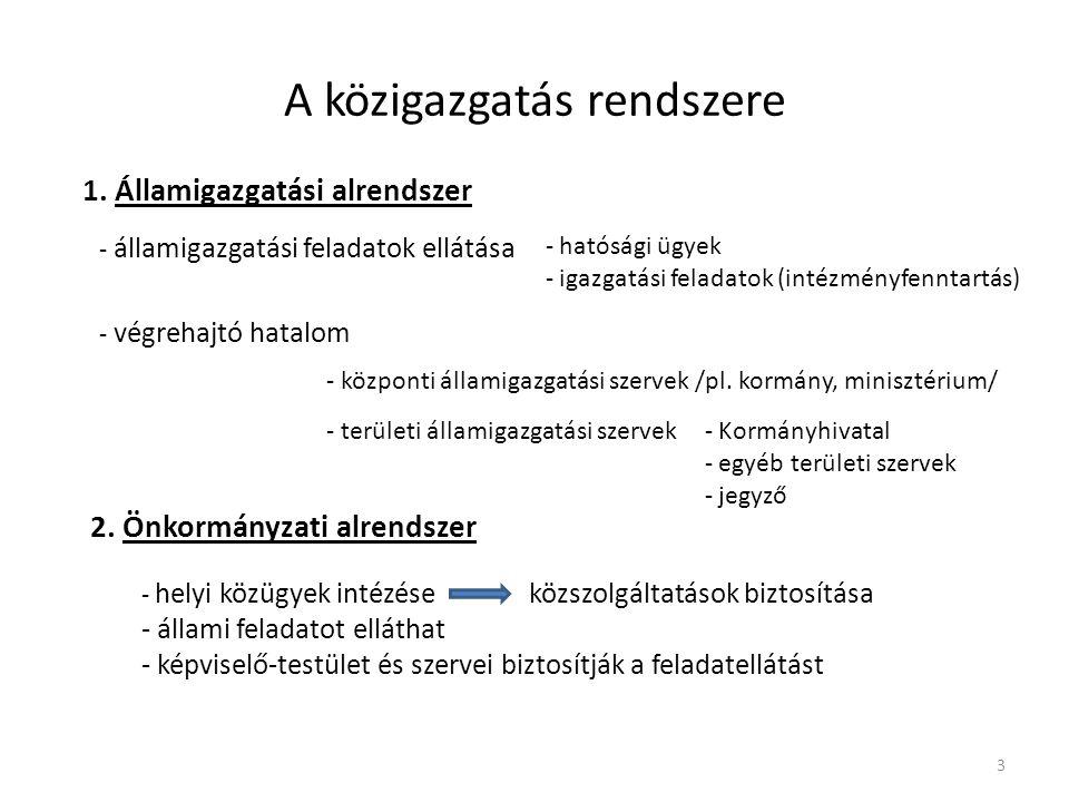 A közigazgatás rendszere 1. Államigazgatási alrendszer - államigazgatási feladatok ellátása - hatósági ügyek - igazgatási feladatok (intézményfenntart