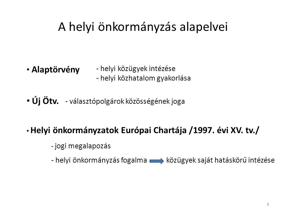 A helyi önkormányzás alapelvei Alaptörvény - helyi közügyek intézése - helyi közhatalom gyakorlása Új Ötv. - választópolgárok közösségének joga Helyi