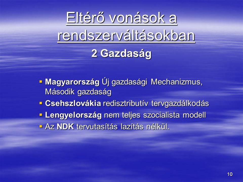10 Eltérő vonások a rendszerváltásokban 2 Gazdaság  Magyarország Új gazdasági Mechanizmus, Második gazdaság  Csehszlovákia redisztributív tervgazdál