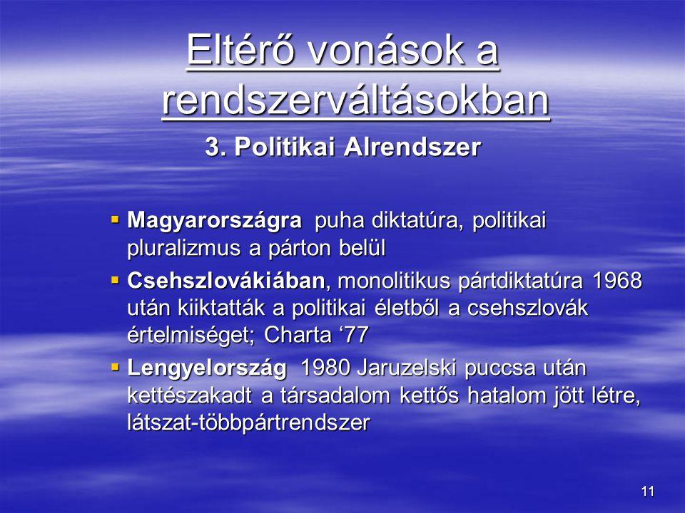 11 Eltérő vonások a rendszerváltásokban 3. Politikai Alrendszer  Magyarországra puha diktatúra, politikai pluralizmus a párton belül  Csehszlovákiáb