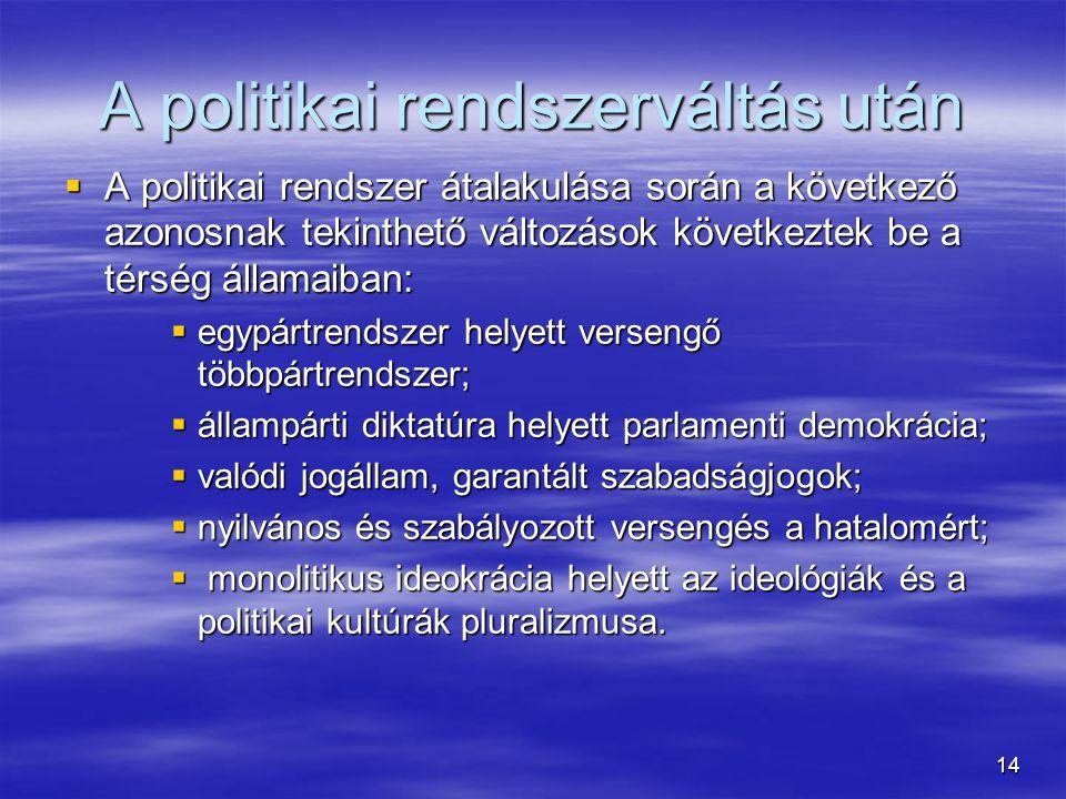 14 A politikai rendszerváltás után  A politikai rendszer átalakulása során a következő azonosnak tekinthető változások következtek be a térség állama