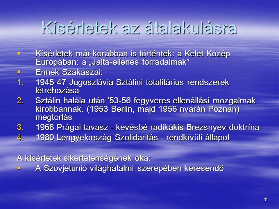 """7 Kísérletek az átalakulásra  Kísérletek már korábban is történtek: a Kelet Közép Európában: a """"Jalta-ellenes forradalmak""""  Ennek Szakaszai: 1.1945-"""
