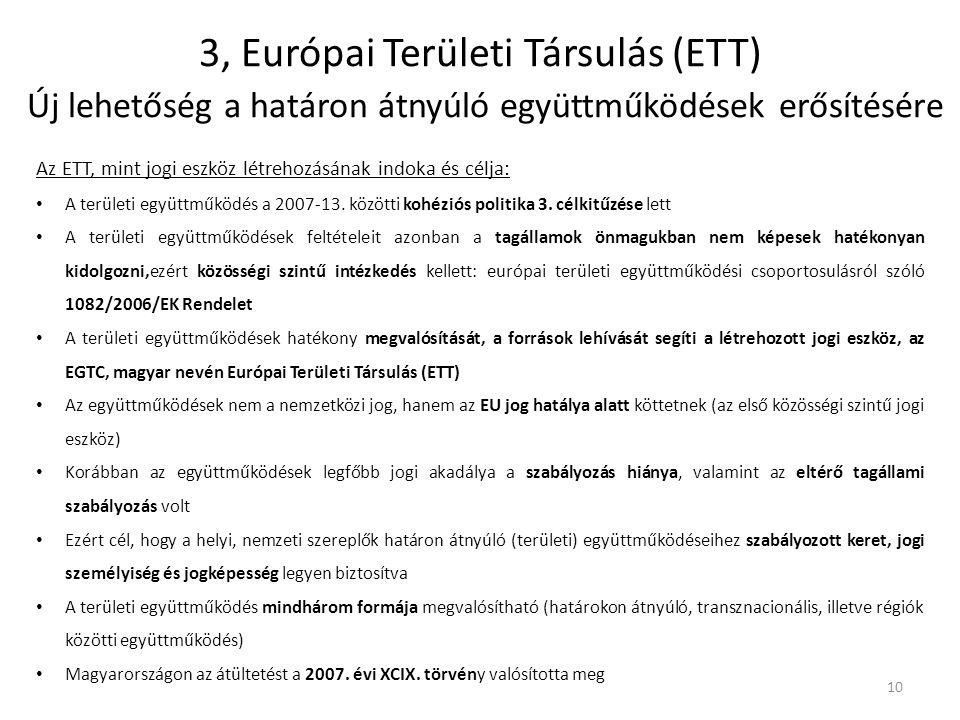3, Európai Területi Társulás (ETT) Új lehetőség a határon átnyúló együttműködések erősítésére Az ETT, mint jogi eszköz létrehozásának indoka és célja: